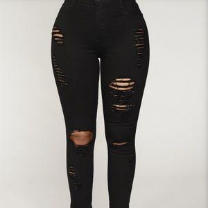 Denim - Black ripped skinny jeans